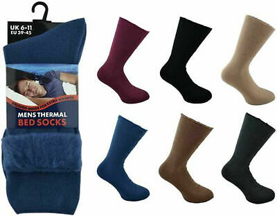 1/ 2 Mens Bed Socks Thermal For Warm Cosy Feet Brushed Warmth Size 6-11