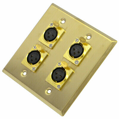 Seismic Audio Gold Stainless Steel Wall Plate - 2 Gang with 4 XLR FeMConnectors