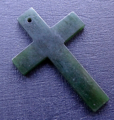 antique vintage NEPHRITE JADE carved cross pendant for necklace -D309
