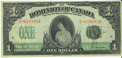 Dominion of Canada 1917 $1 One Dollar Seal Over One C Prefix A Suffix VF