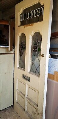 Vintage Art Deco Style Stained Glass Door