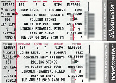 ROLLING STONES - Resched. date... PhIlly Sec 104/Row 9 - Linc. Fincl. Fld