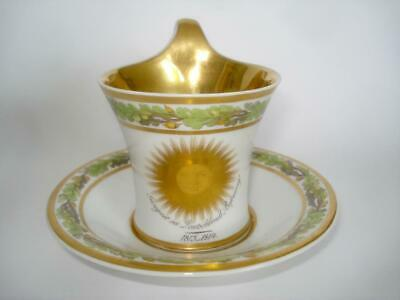 Fine Antique Berlin Gilt Porcelain Cabinet Cup & Saucer 1813 Germany Liberation