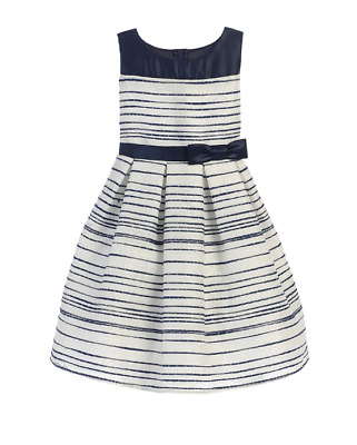 Navy Blue White Woven Satin Flower Girls Dress Stripe Sz 8 Wedding Party Easter