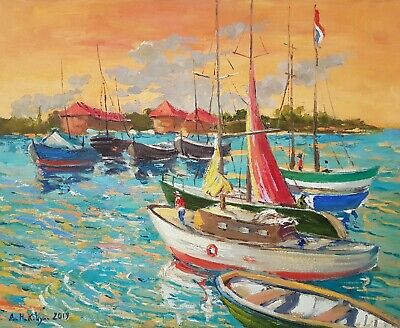 Boats. Original Painting in Impressionist style, oil on canvas. One of a Kind