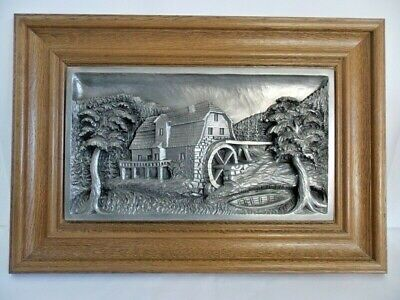 Pewter Heavy 3D Stunning Detail Picture of Farmhouse & Old Mill Water Wheel EUC