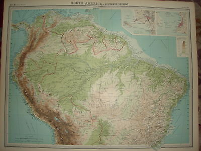 "1920 LARGE MAP SOUTH AMERICA NORTHERN SECTION 23"" x 18"""