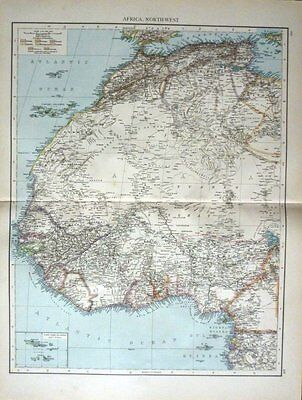 1895 Large Victorian Map ~ Africa North-West ~ Canary Islands Cape Verd Islands