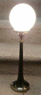 Vintage Art Deco Antique Brass & Timber Table Lamp White Glass Dome Shade