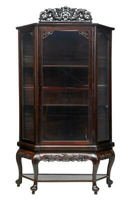 19Th Century Chinese Carved Hardwood Display Cabinet