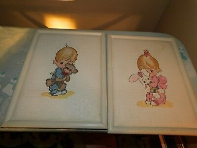 Precious Moments Cross Stitch Pictures COMPLETED Handmade Bed Time