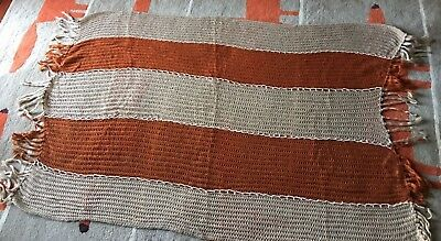 Vintage K-Mart Fringed Afghan Throw Blanket 47x55 1970s Made In Japan NOS