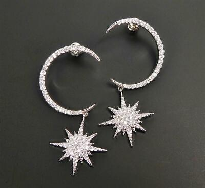 Shiny Silver Tone Sparkling CZ Pave Crescent Moon Star Sterling Post Earrings