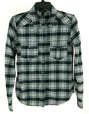 Paige Mya Plaid Top Small Blue Long Sleeve Button Down Flannel Shirt Casual S
