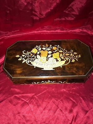 Vintage Inlaid Wood Jewelry Music Box Reuge Swiss Movement Italy