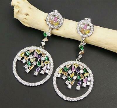 Shiny Silver Tone Sparkling Multicolor CZ Cluster Circle Earrings Sterling Post