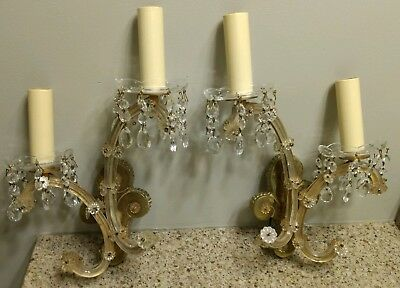 Vintage Italian Venetian Murano Glass Wall & Brass Wall Sconces Pair Set Neat