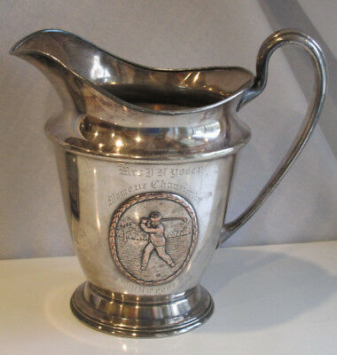 """1920s Golf Womens Championship Trophy Pitcher 8.5"""" Council Grove Silver Plate"""