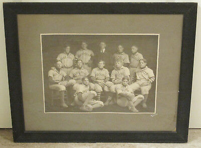 "1900 Baseball Team Cabinet Photo 21"" Cascadilla School Ithaca New York Framed"