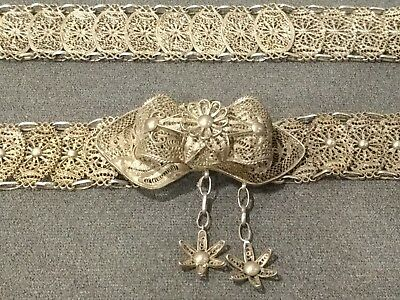 Antique Sterling Silver 950 Filigree Belt & Buckle Ottoman Turkish Amazing Old