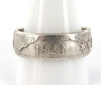 Amazing Well Crafted 1823 Us 1/2 Dollar 50 Cents Silver Ring.