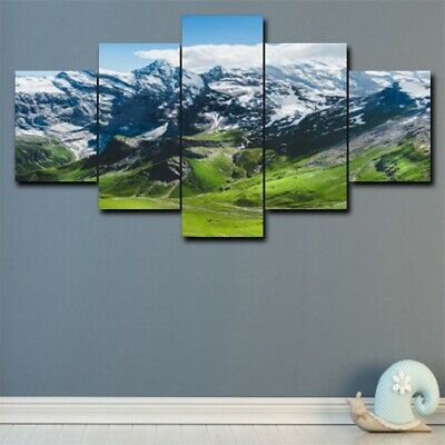 5Pcs Nature Snow Mountain Canvas Modern Wall Painting Home Decor Picture Poster