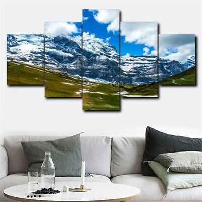 5Pcs Snow Mountain Canvas Modern Wall Painting Home Decor Picture Art Poster