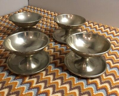 4 Vintage 1920's Silver Plated Brass FOOTED CUP BOWLS Fruit Ice Cream Dessert