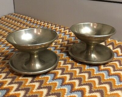 2 Vintage 1920's Silver Plated Brass FOOTED CUP BOWLS Fruit Ice Cream Dessert
