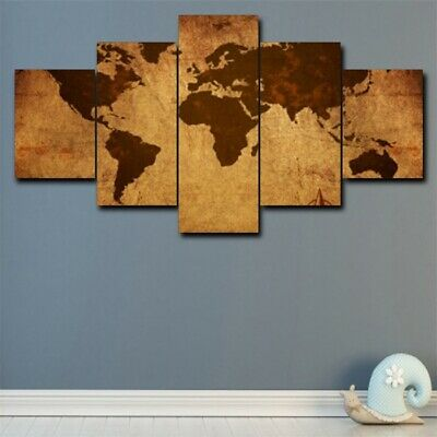 Vintage World Map 5Pcs Canvas Modern Wall Painting Home Decor Picture Art Poster