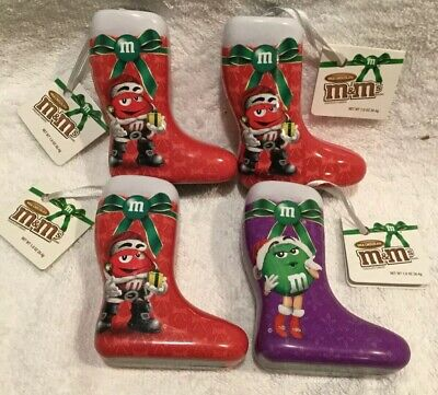 "M&M's Chocolate Christmas Tree Ornament Metal Tin Stocking 4"" Set Of 4 Unused"