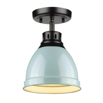 Beaumont Lane Flush Mount in Black with a Seafoam Shade