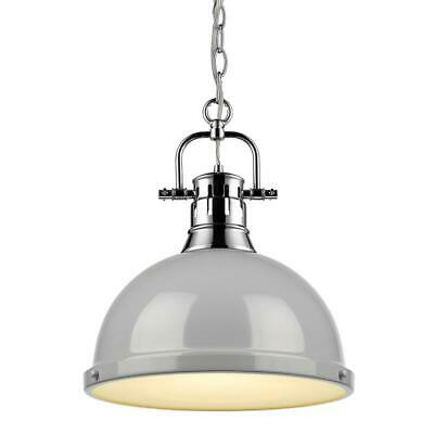 Beaumont Lane 1 Light Pendant with Chain in Chrome with a Gray Shade