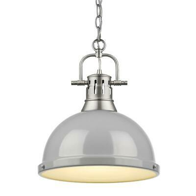Beaumont Lane 1 Light Pendant with Chain in Pewter with a Gray Shade
