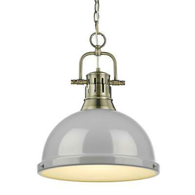 Beaumont Lane 1 Light Pendant with Chain in Aged Brass with a Gray Shade