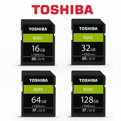 SD Card Toshiba 16GB 32G 64GB 128G N203 Class10 DSLR Video Camera Memory 100mb/s