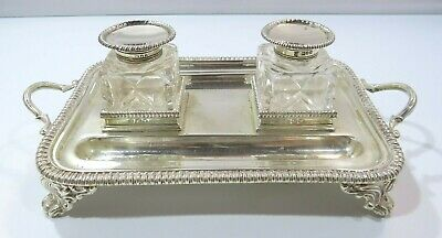 Antique Thomas Bradbury Sterling Silver Desk Stand, Two Silver-Mounted Inkwells