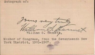 William S. Bennet Autographed Index Card 1901-1917 New York Politician D.62
