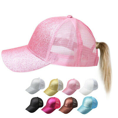 Women Glitter Ponytail Baseball Caps Messy Bun Adjustable Snapback Hip Hop Hat