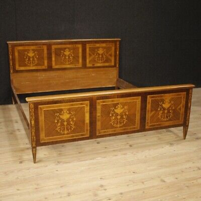 Double Bed Furniture Inlaid Louis XVI Wood Italian Antique Style 900