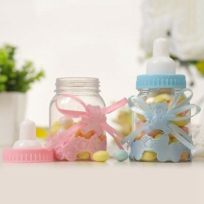 24X Fillable Bottles Candy Box Baby Shower Baptism Party Christening UK