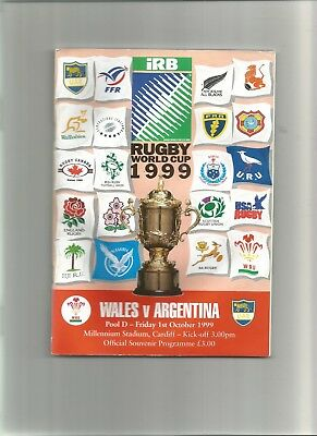World Cup Rugby Programme Wales v Argentina 1st October 1999