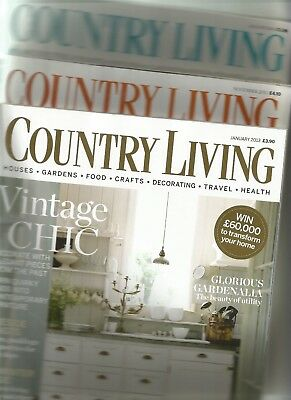 Three Copies of Country Living Magazine: January 2013 - August 2014 - November..