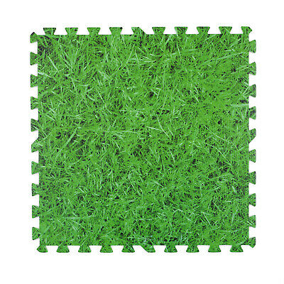 Foam Mats Grass Effect Floor Tiles Home Gym Play Room Garage Soft 1cm Thick