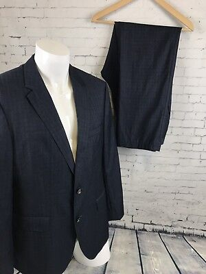 e2bf1d22a MENS HUGO BOSS Johnstons/Lenon Navy Blue 100% Wool Suit 42 S Short ...