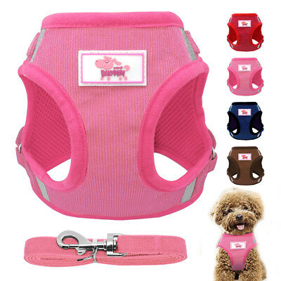 Soft Mesh Small Dog Harness Step-in Puppy Harness Leash Set Pet Jacket Vest AU