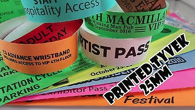 Printed Tyvek Wristbands 100 to 500 (25mm) Party, events, security bands