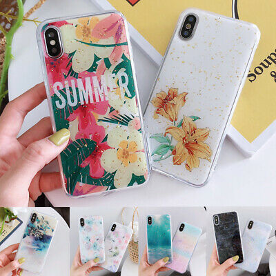 Glitter Foil Marble Flower Pattern Soft Case Cover For iPhone XS Max XR X 6 7 8+