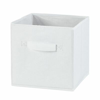 H &L Russel Medium White Embossed Folding Storage Box 25x25x25cm Fabric Wardrobe