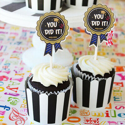 24Pcs 2019 Graduation Party Decorations - YOU DID IT, CONGRATS Cake Toppers